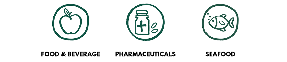 Key sectors: Food and Beverages, Pharmaceuticals and Seafood